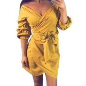 Sash Wrap Dress,Hemlock Women Lady Office Dress Evening Party Dress