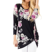 PPBUY Women's 3 4 Sleeve Floral Print T-Shirts Casual Striped Blouse Tops