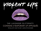 Violent Lips Lavender Glitterati - Lot of (25) Packages of 3 Lip Tattoo Appliques Each, Total of 190cm Lavender Glitter