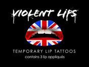 Violent Lips Union Jack - Lot of (25) Packages of 3 Lip Tattoo Appliques Each, Total of 190cm Union Jack