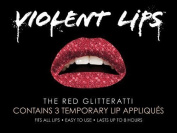 Violent Lips Red Glitterati - Lot of (25) Packages of 3 Lip Tattoo Appliques Each, Total of 190cm Red Glitter