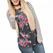 PPBUY Women's Long Sleeve Floral Print T-Shirts Casual Striped Blouse Tops