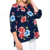 PPBUY Large Size Women Floral Printed Loose Blouse T-Shirt Tops