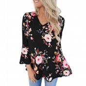 PPBUY Women Autumn Floral Printing Tops Long Flare Sleeve Top