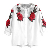 PPBUY Women Autumn Embroidered Long Sleeve T-Shirt Casual Blouse