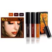 Nibito 3Pcs Halloween Style Lip Lingerie Matte Liquid Lipstick Waterproof Lip Gloss Set