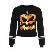 PPBUY Women Round Neck Printed Long Sleeve Halloween Sweatshirt Tops