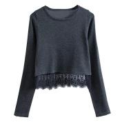 PPBUY Women Lace Long Sleeve Hooded Sweatshirt Pullover T-Shirt