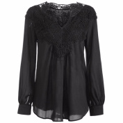 PPBUY Women V Neck Long Sleeve Hollow Top Blouse With Lace