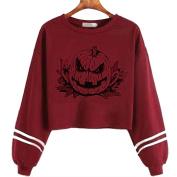 PPBUY Women Halloween Printed Long Sleeve Sweatshirt Top Blouse