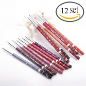 12pcs Women's Lipliner Waterproof Professional Makeup Lip Liner Pencil Set Long Lasting Various Colours