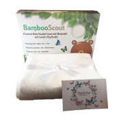 Bamboo Hooded Baby Towel, Washcloth (white), and Laundry Bag Antibacterial and Hypoallergenic | Extra Soft to Keep Baby Warm and Cosy | 90cm x 90cm size, for Infants or Toddlers and kids - Bamboo Scout