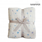 NANPIPER Cotton Muslin Baby Bath Towel, Super Soft and Water Absorbent, 6 Layers Muslin Cotton Warm Baby Blanket for Newborn Infant, Size 110cm x 110cm , 1Pcs