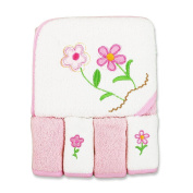 SpaSilk Thick 100% Cotton Terry Hooded Towel Set with 4 Was - Pink 2 Flowers