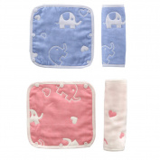 Ibnotuiy Cartoon 4pcs Cotton Drool Teething Pads Baby Carrier Strap Covers Car Seat Strap Covers Baby Seat Belt Covers