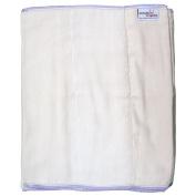 Dandelion Nappies Organic Cotton Half Dozen DSQ Prefolds, White, Size 5/Pinless Prefold Standard/39cm x 46cm