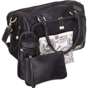 Large Nappy Bag Black Vegan Leather Double Zip Satchel 13 Pockets with Changing Mat Purse and Insulated Bottle Tote