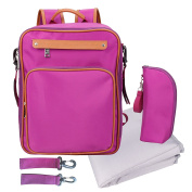 Baby Nappy Bag Backpack with Changing Pad Insulated Sleeve Stroller Strap Cute Small for girl Purple