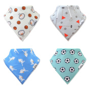 BabiesAmour Baby Bandana Bibs Gift Set for Boys, Extra Soft and Quickly Dry