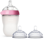 Comotomo Natural Feel Baby Bottle, 240ml with Fast Flow Nipples (Includes Bonus Baby Haven Reusable Steam Steriliser Bag), Pink