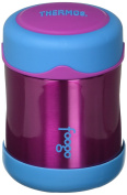 THERMOS FOOGO Vacuum Insulated Stainless Steel 300ml Food Jar, Aubergine/Blue