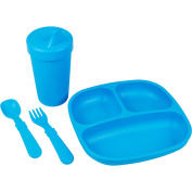 Re-Play Made in the USA Divided Plate, No Spill Sippy Cup, Utensil Set for Baby and Toddler - Sky Blue