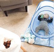 Blanket Bunkee (blue) - Super plush newborn and infant boys nursery baby blanket. 80cm x 100cm