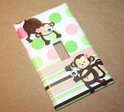 Pink Lime Monkey Girls Nursery Bedroom Light Switch Cover LS0083