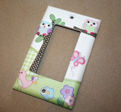 Pink and Purple Owls Girls Bedroom Single Light Switch Cover LS0044