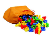 Play & Discover Nuts & Bolts Draw String Bag 4 Shapes 2 Parts , 4 Colours , Pack of 96