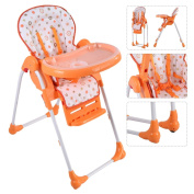New MTN-G Adjustable Baby High Chair Infant Toddler Feeding Booster Seat Folding Orange