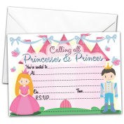 Pack of 20 GLOSSY Party Invitations Princess and Prince with 20 x Envelopes for Kids Birthday Invites princesses & princes children's