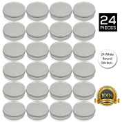 [24 Pack] Simba Homes™ Screw Top Round Steel Tin Cans 2 oz (60 ml) with Self Adhesive White Round Stickers