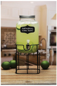 Circleware Chalkboard Yorkshire Mason Jar Glass Beverage Drink Dispenser with Black Metal Stand, 3.8l, Clear