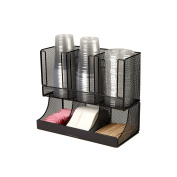 Mind Reader 'Flume' 6 Compartment Condiment and Cup Organiser, Black Metal Mesh