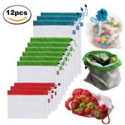 Brotrade Reusable Mesh Produce Bags Washable Eco Friendly Bags for Grocery Shopping & Storage, Fruit, Vegetable, and Toys Set of 12 - Three Large 30cm x 43cm , Six Medium 30cm x 36cm , and Three Small 30cm x 20cm