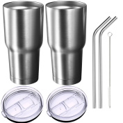 Homitt Pack of 2 Insulated Tumbler Travel Mug, Double Wall Vacuum Stainless Steel Cup Bundle with 2 Lid, 2 Curved Straws, Cleaning Brush, (24 Hours Ice Retention, 6 Hours Hot Retention), 890ml