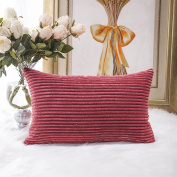 Home Brilliant Solid Striped Corduroy Oblong Lumbar Pillow Case Cushion Cover for Sofa, 30cm x 50cm,Dark Red