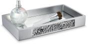 Dwellza Silver Mosaic Vanity Mirror Tray for Dresser (28cm x 16cm x 3.8cm ) – Decorative Cosmetics Organiser- Durable Resin- Best Trays for Arranging Perfume Jewellery Makeup