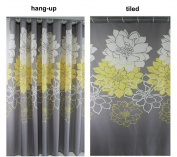 Wimaha Peony Flower Fabric Shower Curtain Mildew Resistant Waterproof Standard Shower Curtain for Bathroom Yellow and Grey, 72 x 72