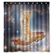 Space Cat Water-Proof Polyester Fabric (170cm x 180cm ) Shower Curtain