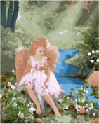 Wowdecor Paint by Numbers Kits for Adults Kids, Number Painting - Cute Little Angel Girl in the Garden 41cm x 50cm