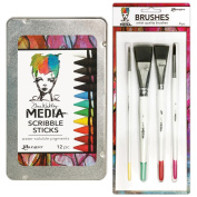 Dina Wakley Media Scribble Sticks & Brushes Bundle,12 Water-Soluble Crayons & 4 Media Brushes