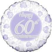 Oaktree 46cm Circle Happy 60th Anniversary Foil Balloon (46cm )
