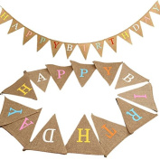 """HAPPY BIRTHDAY"" Printed Linen Bunting 4M/13Feet Flag Banner Pennant Flag Garlands Fabric Triangle Flags Double Sided Vintage Cloth Shabby Chic Decoration for Rustic Wedding Party"