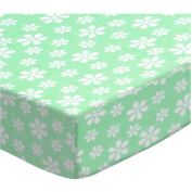SheetWorld Fitted Bassinet Sheet - Pastel Green Floral Woven