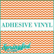 CHEVRON STRIPES PATTERN #1 Orange & White Craft Vinyl 3 sheets 6x6 Chevron for Vinyl Cutters