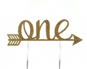 Handmade 1st First Birthday Cake Topper Decoration - one with arrow - Made in USA with Double Sided Gold Glitter Stock