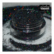 Black - GlitterWarehouse Fine (.20cm ) Holographic Solvent Resistant Cosmetic Grade Glitter. Great for Makeup, Body Tattoo, Nail Art and More!