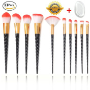 11Pcs Makeup Brushes Set, Unicorn Makeup Brushes 10Pcs Premium Silky Soft Bristles Alicorn Handle Cosmetic Brush Tool Kits with 1Pc Silicone Makeup Sponge